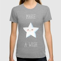 Make a Wish Womens Fitted Tee Tri-Grey SMALL