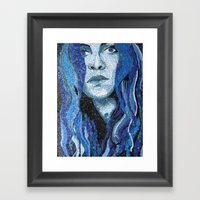Of Water - Monochromatic Mosaic Framed Art Print
