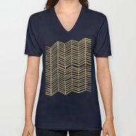 Gold Herringbone Unisex V-Neck