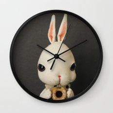 Mr Bunny loves donut Wall Clock