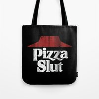 Vintage Pizza Slut Print Black Tote Bag