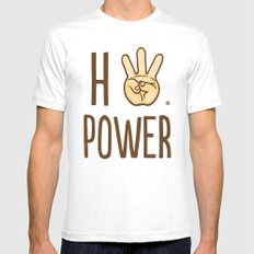 HiiiPower (w/text) : Pale SMALL Mens Fitted Tee White