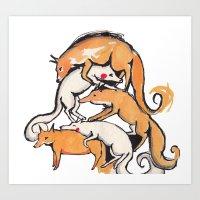 Fox Pile Art Print