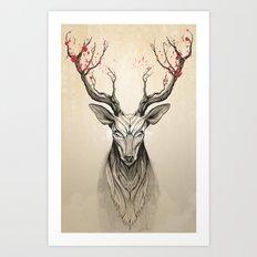 Deer Tree Art Print