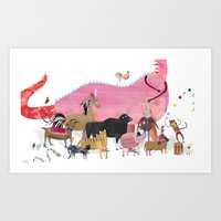 ANIMALS And A Dragon Art Print