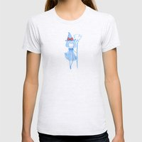 Little Witch with broom Womens Fitted Tee Ash Grey SMALL