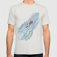 Sea Otter In Love Mens Fitted Tee Silver SMALL