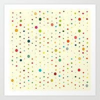 Retro Rain Spots Cream Art Print