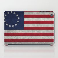 The Betsy Ross flag of the USA - Vintage Grungy version iPad Case