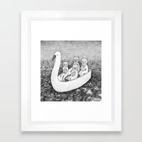 4 cats on a boat Framed Art Print