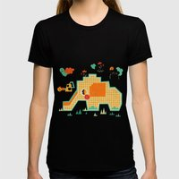 Elephant Playground Womens Fitted Tee Black SMALL