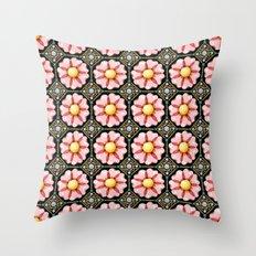 Pink Flower Boho Chic Throw Pillow