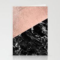 Bold modern rose gold black marble color block Stationery Cards