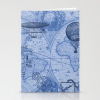 Steampunks in Blue Stationery Cards