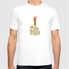 man listening something from the sky Mens Fitted Tee White SMALL