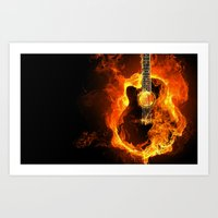 guitar Art Prints featuring Guitar  by wowpeer