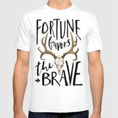 Fortune Favors the Brave SMALL White Mens Fitted Tee