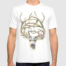 Buck White Mens Fitted Tee SMALL