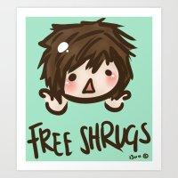'Free Shrugs' Art Print
