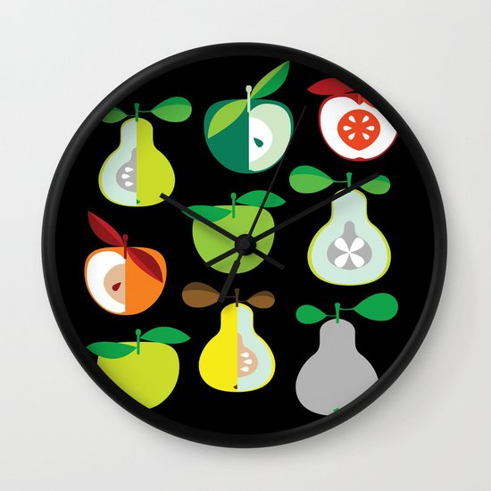 Apples and Pears / Geometrical 50s pattern of apples and pears Wall Clock