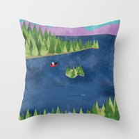 Around the lake  Throw Pillow