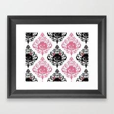 cat damask Framed Art Print