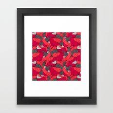 Purrrfect Pattern (Red) Framed Art Print