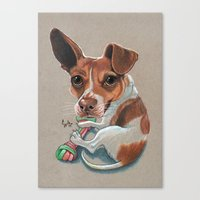 Rex Puppy Dog Art Canvas Print