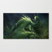 Green Crystal Dragon Canvas Print