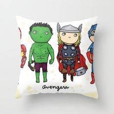 Super Cute Heroes: Avengers! Throw Pillow