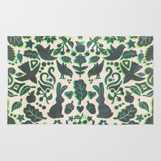 Two Rabbits - folk art pattern in grey, lime green & mint Area & Throw Rug
