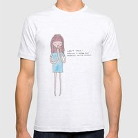 Can't talk, pizza Mens Fitted Tee Ash Grey SMALL