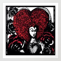 Queen of Hearts with Painted Roses Art Print