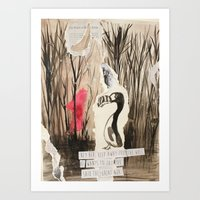 Little Red And Great Auk Art Print