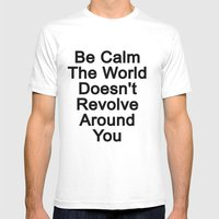 Be Calm Mens Fitted Tee White SMALL