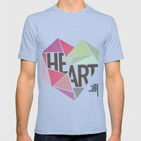 BROKEN HEART  Mens Fitted Tee Tri-Blue SMALL
