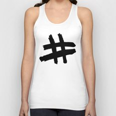 Hashtag black Unisex Tank Top
