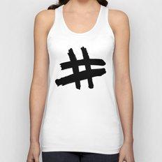Hashtag black Unisex Tank Top