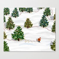 Who cares about having your own xmas trees when you can decorate the whole forest? Canvas Print