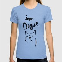 Dogue French Bulldog Womens Fitted Tee Athletic Blue SMALL