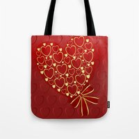 Gold hearts on rich red Tote Bag