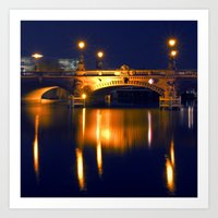 Nocturnal Lights on the river Spree in Berlin Art Print