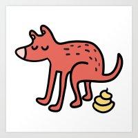 Pooping Dog Art Print
