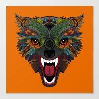 wolf fight flight orange Canvas Print