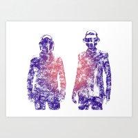 Daft Punk Text Portrait Art Print