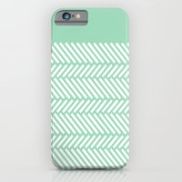 iPhone & iPod Case featuring Herringbone Mint Boarder by Project M