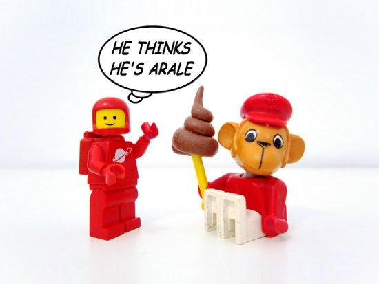 "space lego meeting the ""arale wannabe"" monkey Art Print"