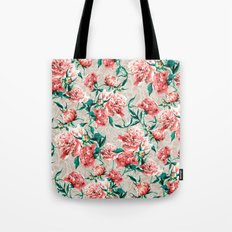 Peonies with lace effect Tote Bag