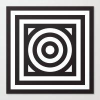 Stripes Circle Square Bl… Canvas Print