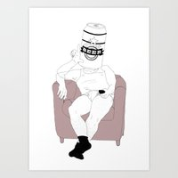 LAZY, BEER AND REMOTE ON… Art Print